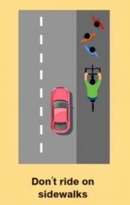 Avoid riding on sidewalks