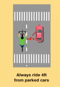 avoid ride 4ft from parked cars