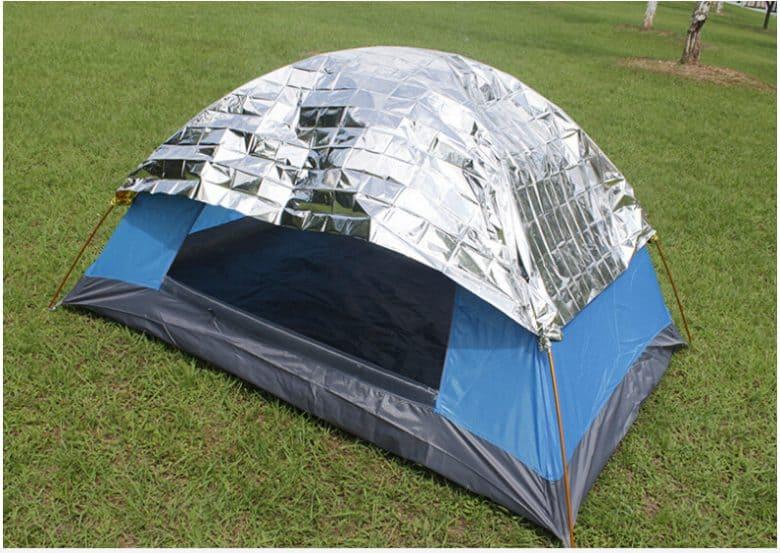 emergency blanket on tent
